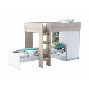 TRENO patrová postel 90x200 cm, akát/bílá patrová postel 90x200 cm, akát/bílá