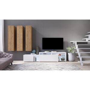 VENTO obývací stěna typ 06, bílý supermat/dub grandson