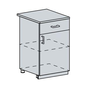 ANASTASIA, dolní skříňka 50 D1S se šuplíkem, bílá/bříza