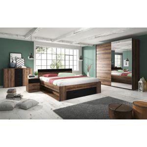 Ložnice BETA s postelí 160x200 cm, dub monastery/černá