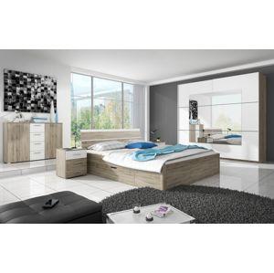 Ložnice BETA s postelí 160x200 cm,  dub san remo světlý/bílá