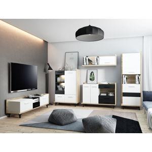 Obývací pokoj BOX 3, dub sonoma/bílá/černá, 5 let záruka