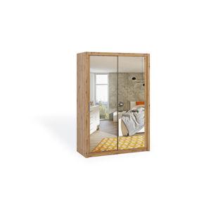 Dvoudvéřová šatní skříň s posuvnými dveřmi a zrcadlem BONO, BO SZ150, dub artisan