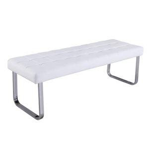 BRAND lavice, bílá ekokůže/chrom
