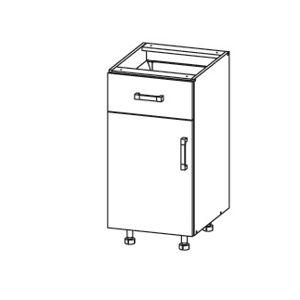 EDAN dolní skříňka D1S 40 SAMBOX, korpus šedá grenola, dvířka dub reveal