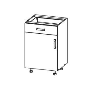 PLATE PLUS dolní skříňka D1S 50 SMARTBOX, korpus šedá grenola, dvířka bílá perlová