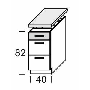 KAMDUO, dolní skříňka DUO DS4/3+PD, zebrano/hruška