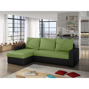 Rohová sedačka LIVIO LIV10, zelená látka/černá látka
