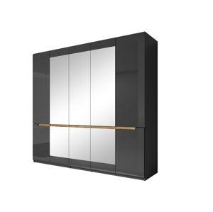 HEKTOR šatní skříň se zrcadlem 225 TYP 21, antracit/antracit lesk