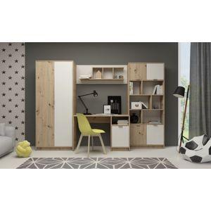Obývací stěna CARLOS, dub artisan/bílá