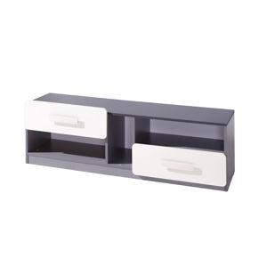Televizní stolek LIDO RTV, šedá/grafit+bílá