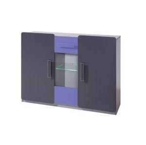 Komoda LIDO K3D, šedá/grafit+fialová