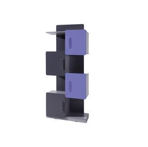 Regál LIDO R4D, šedá/grafit+fialová
