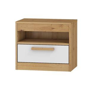 Noční stolek MAXIM 32, dub artisan/bílý lesk