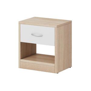 Noční stolek NEA 1S, dub sonoma světlý/bílý mat