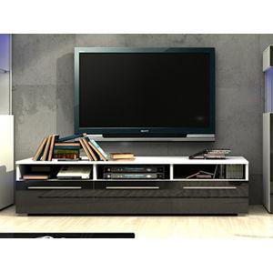 NICEA RTV stolek 150, bílá/černý lesk