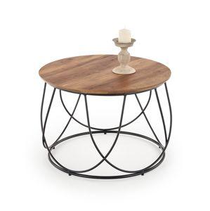 Kulatý odkládací stolek NUBIRA, ořech/černá