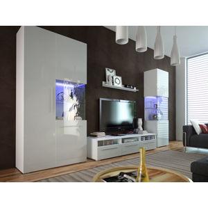 Obývací pokoj NICEA 1, bílá/bílý lesk