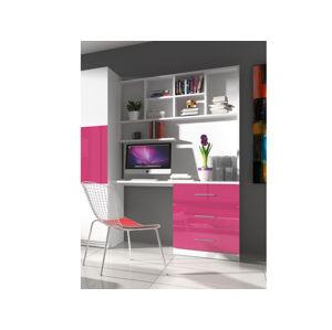 Regál s psacím stolem RAJ 3, bílá/růžový lesk