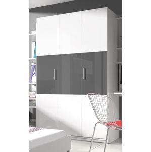 Šatní skříň RAJ 3, bílá/šedý lesk