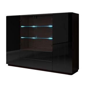 TOGO vitrína TYP 48, wenge/černé sklo
