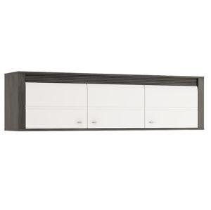 SEVILLA, závěsná skříňka 3D, norská borovice černá/bílý lesk