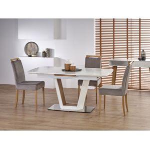 Rozkládací jídelní stůl VALETTI, bílá/dub zlatý