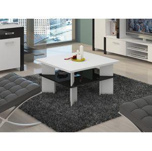 Konferenční stolek VECTRA 1, bílá/černý lesk