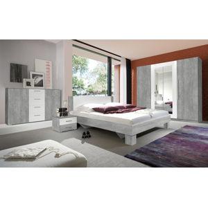 VERA ložnice s postelí 160x200 cm, beton colorado/bílá