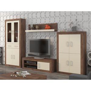Obývací stěna VERIN 10, craft tobaco/krém