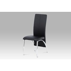 Jídelní židle AC-1060 BK, chrom/koženka černá