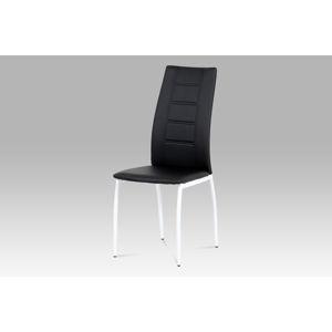 Jídelní židle AC-1196 BK, černá koženka/bílý lak
