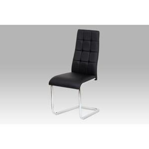 Jídelní židle AC-1620 BK, černá koženka / chrom