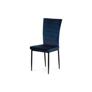 Jídelní židle, modrá látka samet, kov černý mat AC-9910 BLUE4
