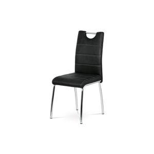 Jídelní židle, černá látka imitace broušené kůže, kov chrom AC-9930 BK3