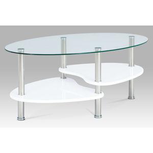 Konferenční stolek ACT-007 WT1, bílý lesk/nerez/sklo