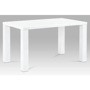Jídelní stůl AT-3007 WT 135x80 cm, vysoký lesk bílý