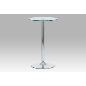 Barový stůl průměr 60, čiré sklo/chrom, AUB-6070 CLR