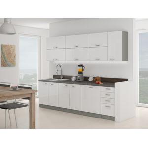 Kuchyně BIANCA 260, šedá/bílý lesk