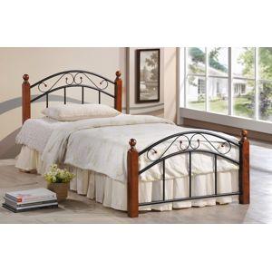 NEJBY, postel 90x200 cm s roštem, masiv/kov, třešeň antická