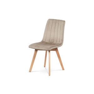 Jídelní židle, krémová sametová látka, masivní bukové nohy v přírodním odstínu CT-616 CRM4
