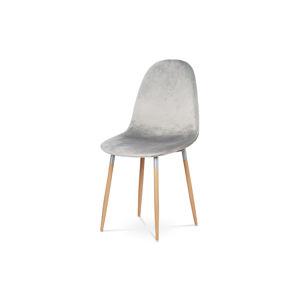 Jídelní židle, stříbrná látka samet, kov buk CT-622 SIL4