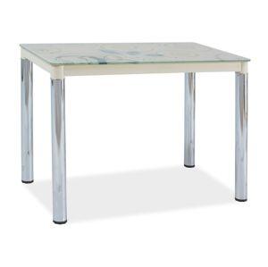 Jídelní stůl DAMAR II, sklo/krémová-chrom
