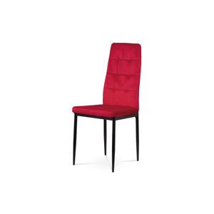 Jídelní židle, červená sametová látka, kovová čtyřnohá podnož, černý matný lak DCL-395 RED4