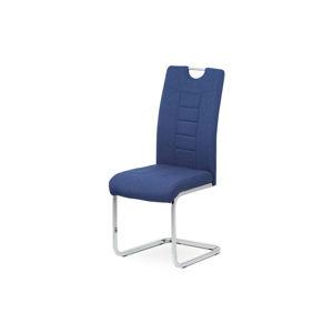 Jídelní židle - modrá látka, kovová chromovaná podnož DCL-404 BLUE2