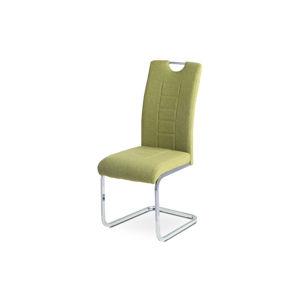 Jídelní židle - zelená látka, kovová chromovaná podnož DCL-404 GRN2