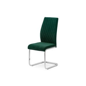 Jídelní židle - zelená sametová látka, kovová chromovaná podnož DCL-442 GRN4