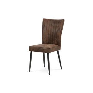 Jídelní židle, látka hnědá, broušený kov antik HC-323 COF3