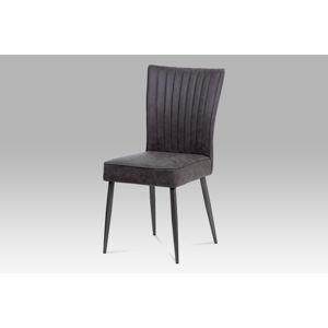 Jídelní židle HC-323 GREY3, šedá imitace kůže/broušený nerez antik