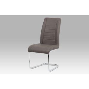 Jídelní židle HC-375 CAP, koženka cappuccino/chrom